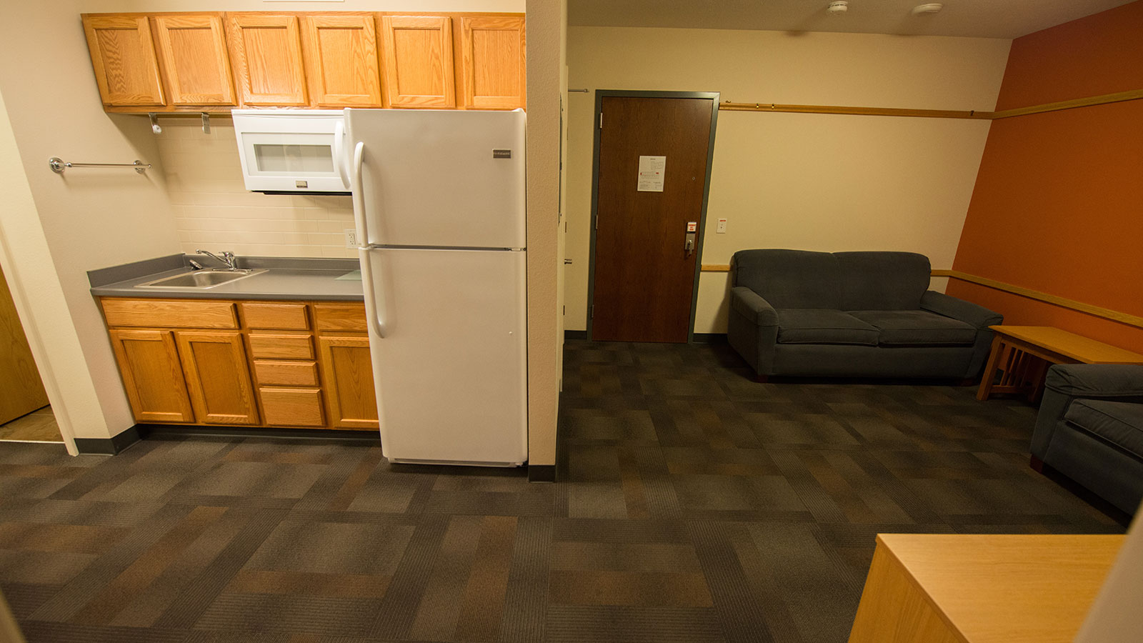 Living and kitchenette in the guest housing dorm.