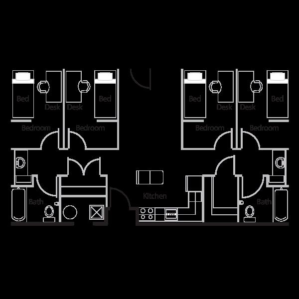 Four Room floor plan.