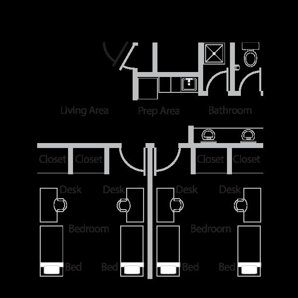 Two room floor plan.