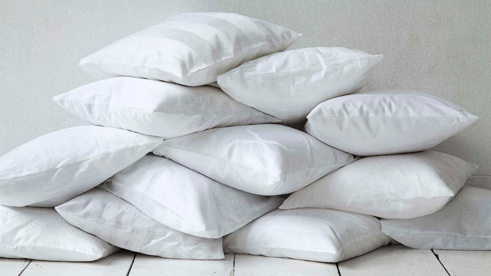 Pile of clean white pillows