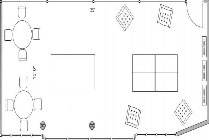 Aerial line drawing of the Massengale game room space.