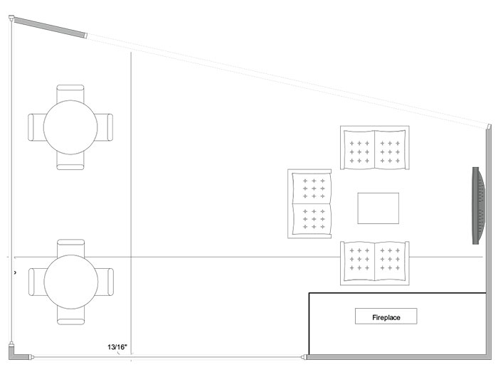 Aerial line drawing of the Abel Welcome Center Fire Pit space.