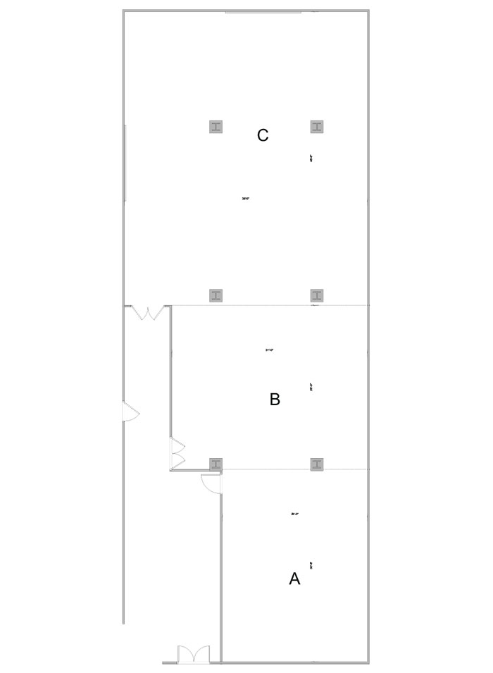 Aerial line drawing of the Harper dining conference room.