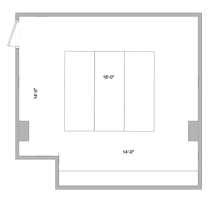 Aerial line drawing of the Schramm conference room space.