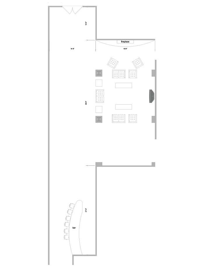 Aerial line drawing of the Schramm lounge space.