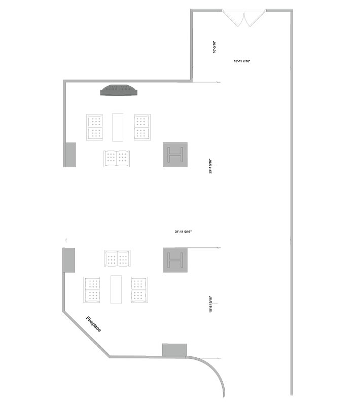 Aerial line drawing of the Smith lounge space.