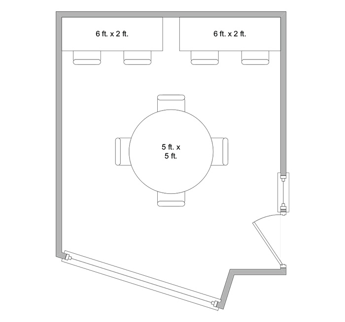 Aerial line drawing of the Kauffman 111 space.