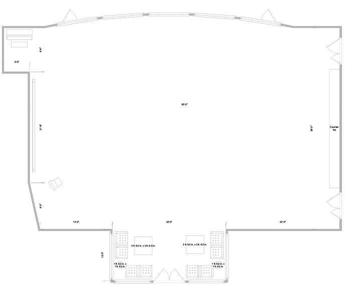 Aerial line drawing of the Kauffman great hall space.